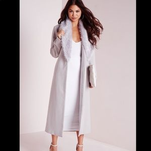Missguided Longline Wool Coat with Fur Collar Gray